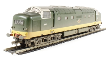 32-529B Class 55 Deltic D9011 in BR Two Tone Green (weathered)