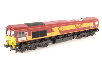 32-725W Class 66 66062 in Euro Cargo Rail (EWS) Red & Yellow - Limited edition for Model Rail magazine
