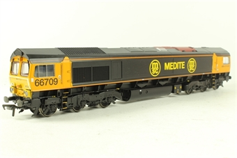 32-727Z Class 66 66709 'Joseph Arnold Davies' in First GBRf Medite Black & Orange Livery- Limted Edition for Model Rail