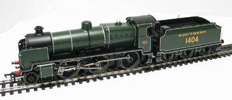 32-163 Class N 2-6-0 1404 & slope sided tender in SR green with smoke deflectors