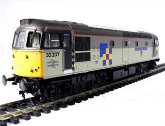 "3323 Class 33/2 diesel 33207 ""Earl Mountbatten of Burma"" in Railfreight Construction sector livery"