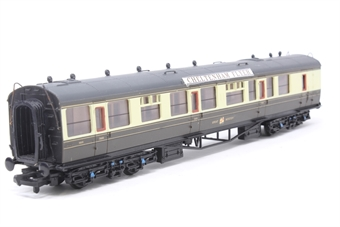 34-075-PO05 Collett 60' 3rd class brake coach 1655 in GWR Chocolate and Cream - Pre-owned - detailed with route boards, one corridor connector has door fitted - Missing one roof vent - Imperfect box