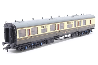 34-075B-PO06 60ft. Collett 1st & 3rd Class Brake Composite Coach 1656 in Great Western 'Hawksworth' Chocolate & Cream Livery - Pre-owned - Minor marks on roof and body sides, damage to corridor end, missing buffer, replacement box