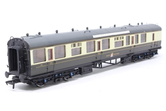 34-075C-PO03 60ft. Collett 3rd Class Brake Corridor Coach 6706 in Great Western Chocolate & Cream Livery - Pre-owned -  marks on body- replacement coupling