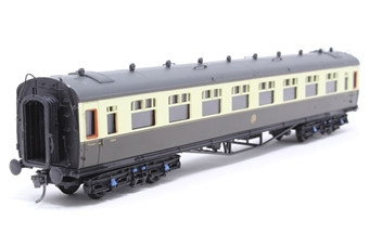 34-126-PO03 Collett 60ft 1st/3rd composite coach in choc/cream Great Western - Pre-owned - detailed with kadee couplings- imperfect box