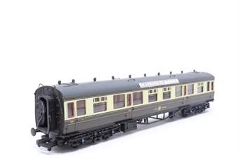 34-126-PO05 Collett 60ft 1st/3rd composite coach in choc/cream Great Western - Pre-owned - detailed with added route boards-  imperfect box