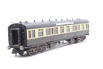 34-126A-PO08 Collett 60ft 1st/3rd composite in GWR chocolate & cream with roundel - Pre-owned - weathered - Passengers added