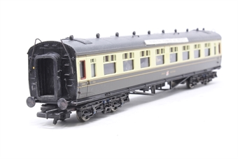 34-127-PO04 Collett 60ft 1st/3rd composite coach in GWR chocolate/cream - Pre-owned - weathered - Passengers added