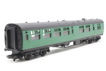34-500-PO07 63ft. Bullied 2nd Class Corridor, Open, Brake Coach S3945S in BR 'Southern Region' Green Livery - Pre-owned - coach body slightly loose on chassis