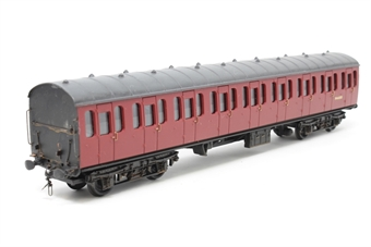 34-601-PO05 BR Standard Mk1 57ft suburban coach M46083 in crimson - Pre-owned - detailed, original couplings replaced with three link chain couplings, weathered