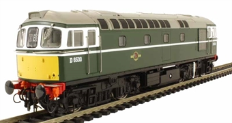 3413 Class 33/0 diesel D6530 in BR green with experimental yellow panels with rounded top corners