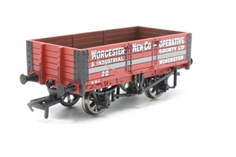 37-052-PO04 5 Plank Wagon with Wooden Floor 20 in 'Worcester New Co-Operative' Red Livery - Pre-owned - Like new - imperfect box