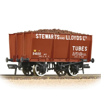"37-402 16 ton slope sided steel mineral wagon ""Stewarts and Lloyds"" with load"