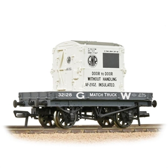 37-480 1 plank open wagon 32128 in GWR grey with AF container - weathered