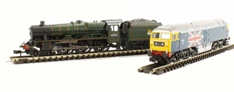 370-2014 Bachmann N Scale Silver Anniversary Set with Class 5P Jubilee & Class 47 locos in wooden box with certificate