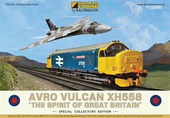 "370-375 Avro Vulcan Collector's Pack - Class 37/4 37558 ""Avro Vulcan XH558"" in BR large logo blue and pair of N scale Avro Vulcans £161.45"