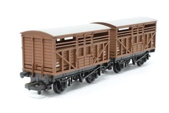37143-PO11 Pair of 10T Cattle Wagons M12098 in BR Bauxite - Pre-owned - sold as seen - minor marks on roof - replacement box