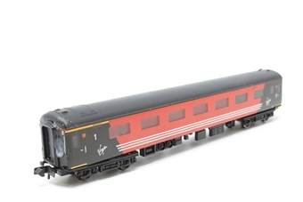 """374-700-PO03 Mk2F RFB restaurant 65ft coach in """"Virgin"""" livery - Pre-owned - One axle different size to others,  glue marks on one end, imperfect box"""