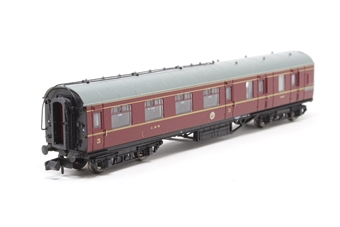 374-825A-PO04 Stanier 3rd class brake car in LMS crimson lake - Pre-owned - missing coupling