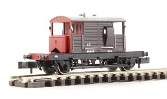 377-851 SR 25 Ton 'Pill Box' Brake Van SR Brown Grey Roof & Red Ends
