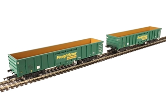 4F-025-001 MJA mineral & aggregates twin bogie box wagon 502003 and 502004 in Freightliner green £47