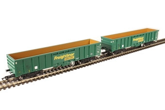 4F-025-002 MJA mineral & aggregates twin bogie box wagon 502017 and 502018 in Freightliner green £47