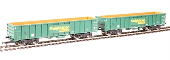 4F-025-005 MJA mineral & aggregates twin bogie box wagon 502019 and 502020 in Freightliner green £42.50