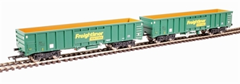 4F-025-006 MJA mineral & aggregates twin bogie box wagon 502005 and 502006 in Freightliner green