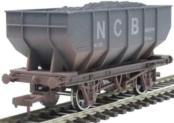 4F-034-117 21 ton mineral hopper in National Coal Board grey - weathered