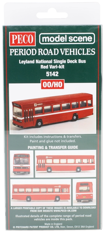 5142Peco Leyland National single-deck bus - Vari-kit red plastic kit