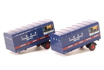 "76MH004T Pair of box trailers for Scammell Scarab van trailer in ""LNER"" livery"