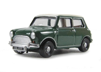 76MN003 Austin Mini Almond in British Racing Green with Old English white roof