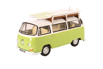 76VW028 Volkswagen VW camper van lime green / white - with surfboards