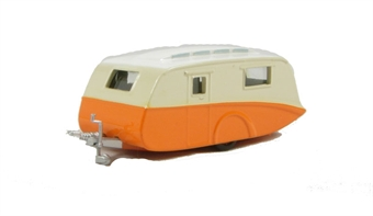 76CV001 Caravan in Orange/Cream with 5 assorted tow hooks (to fit any Oxford car or van)