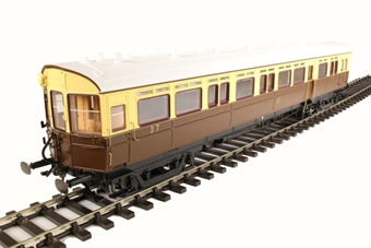 7P-004-003S GWR 59' Auto Coach in GWR chocolate and cream with shirtbutton - DCC sound and light bar fitted