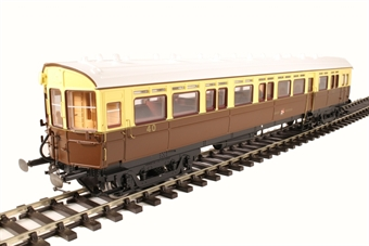 7P-004-004D GWR 59' auto coach 40 in GWR chocolate and cream - DCC and light bar fitted