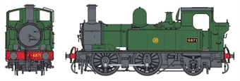 7S-006-002D Class 48xx 0-4-2T 4871 in GWR unlined green with shirtbutton logo - DCC Fitted