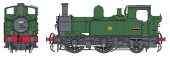 7S-006-051D Class 58xx 0-4-2T 5809 in GWR green with shirtbutton logo - DCC Fitted
