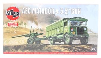 A01314V AEC Matador and 5.5 inch gun - Airfix Classics range - plastic kit