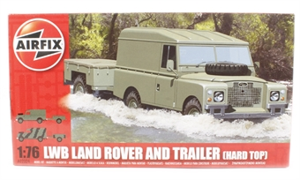 A02324 Long Wheelbase Landrover (Hard Top) & GS Trailer with British Army marking transfers