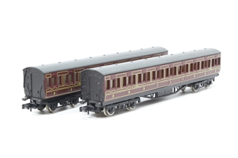 CoachBundleN-PO48 Bundle of 2 maroon coaches - Pre-owned - replacement box