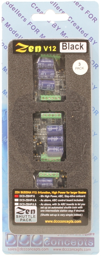 DCD-ZBHP-6-3 Zen Black - O and large scale 6 function decoder with stay alive - pack of three