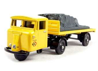 DG199012 Scammell Mechanical Horse Flatbed Trailer/Load in British Rail yellow with Railfreight emblems