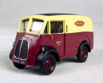 "EM76601 Morris 10 cwt J van in ""British Railways"" maroon & cream livery"