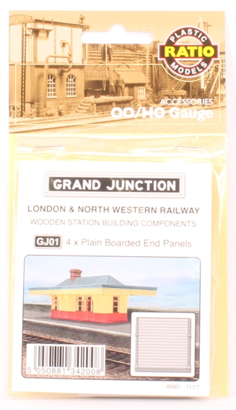 GJ01 LNWR-style station - pack of four plain boarded end panels - plastic kit