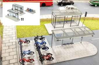 GM423 Modern bus shelters and bicycle stands - plastic kit