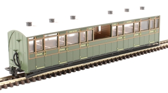GR-451A Lynton and Barnstaple third class observation coach 2466 in Southern Railway olive green