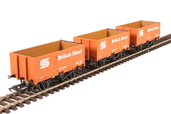 "GV6013 Pack of three 7-plank open wagons ""British Steel"""