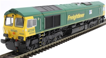 """H4-66-016-S Class 66 66593 in Freightliner livery """"3MG Mersey Multimodal Gateway"""" - Sound Fitted"""