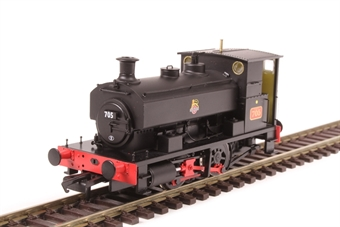 "H4-AB14-001 Andrew Barclay 0-4-0ST 14"" 2047 '705' in BR black with early emblem"